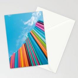 Colorful Rainbow Pipes Against Blue Sky Stationery Cards