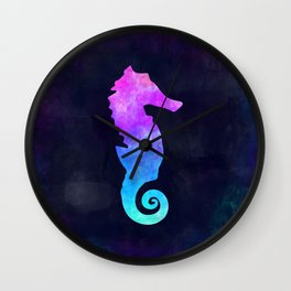 SEAHORSE IN SPACE // Animal Graphic Art // Watercolor Canvas Painting // Modern Minimal Cute Wall Clock