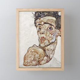 Egon Schiele - Self Portrait With Raised Bare Shoulder Framed Mini Art Print