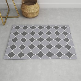 Pantone Lilac Gray Ornamental Moroccan Tile Pattern with White Border Rug