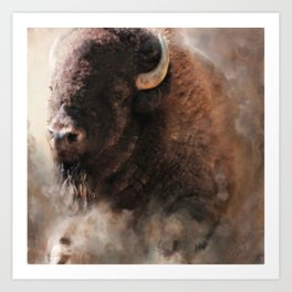 When The Dust Settles - Bison Art Print