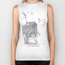 San Francisco Map White Biker Tank