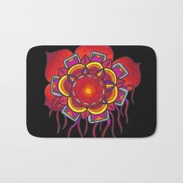 Red Flower Design Bath Mat