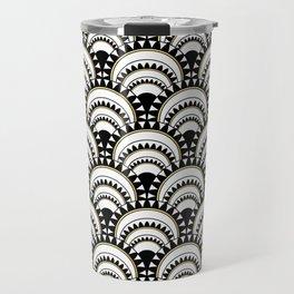 Monochrome and Gold Art Deco Scallops Travel Mug