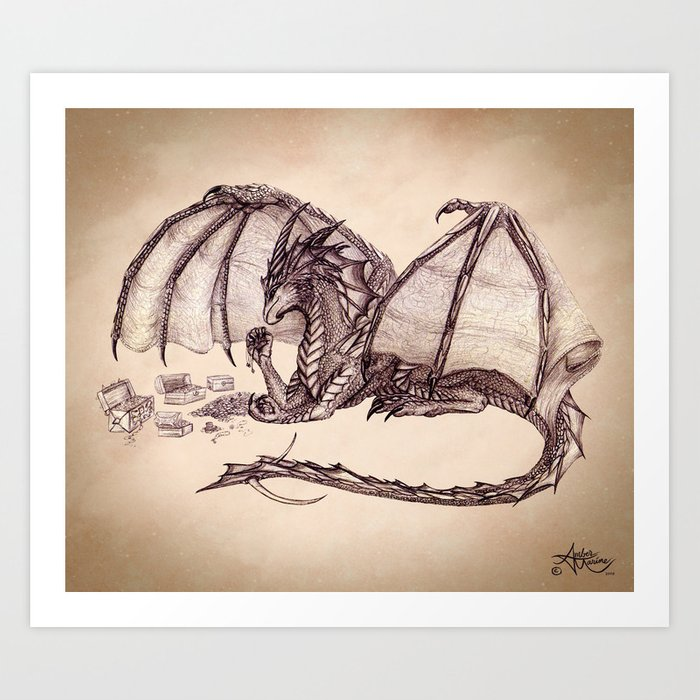 """Material Girl"" by Amber Marine ~ Graphite & Charcoal Dragon Art, (Copyright 2005) Art Print"