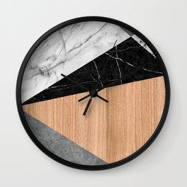 Marble, Garnite, Teak Wood Abstract Wall Clock