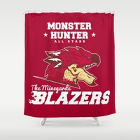 monster hunter Shower Curtains featuring Monster Hunter All Stars - The Minegarde Blazers by Bleached ink