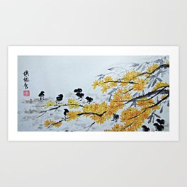 Chicks Under The Tree Art Print