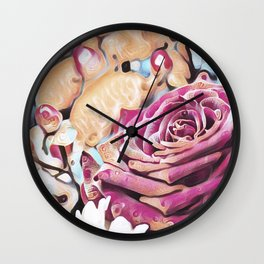 Textured illustration with rose and berries Wall Clock