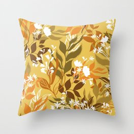 Romantic Florals and Leaves Garden 2 Throw Pillow