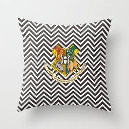 Hogwarts Logo Illusion Pattern Throw Pillow