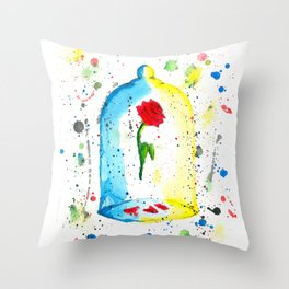 Rose (Beauty and the Beast) - Watercolor Painting Throw Pillow