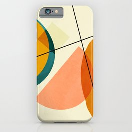 mid century geometric shapes painted abstract III iPhone Case