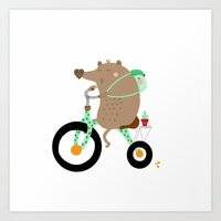 cycling Art Prints featuring cycling by Sucoco