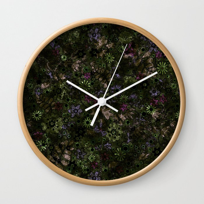 Floral Pattern Flowers Retro Background Wall Clock