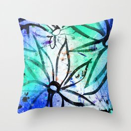 big messy flowers Throw Pillow