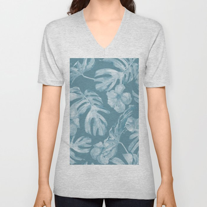 Tropical Escape Teal Blue Leaves + Hibiscus Unisex V-Neck