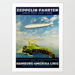 Vintage Airship Travel Poster - Design 1 Art Print