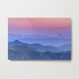 """Mountain dreams"". At sunset. Metal Print"