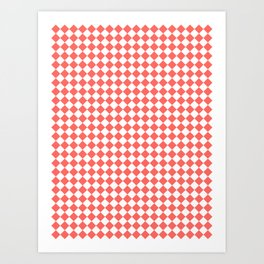 Small Diamonds - White and Pastel Red Art Print