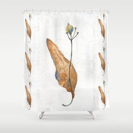 Linden seeds in winter (watercolor on textured background) Shower Curtain