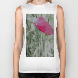 Pink poppy in a field Biker Tank