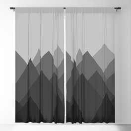 Black and White Abstract Mountains Blackout Curtain