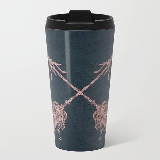Arrows Rose Gold Foil on Navy Blue Metal Travel Mug