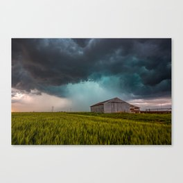 Rainy Day - Storm Passes Behind Barn in Southwest Oklahoma Canvas Print