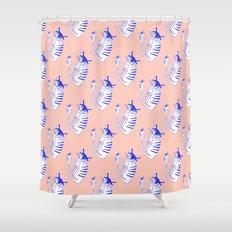 Neon cat in peach Shower Curtain