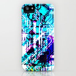 circuit board blue iPhone Case