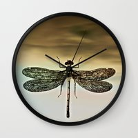 dragonfly Wall Clocks featuring DRAGONFLY  by Pia Schneider [atelier COLOUR-VISION]
