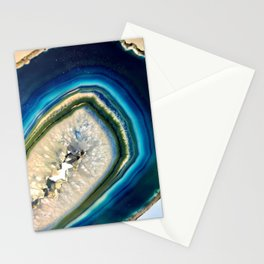 Blue Teal Agate Slice Crystal Stone Vibrant Said to assist you with adapting to change Stationery Cards