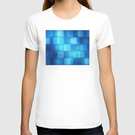 Multi-Blue Tiles Abstract Pattern T-shirt