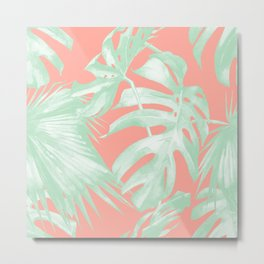 Island Love Coral Pink + Light Green Metal Print