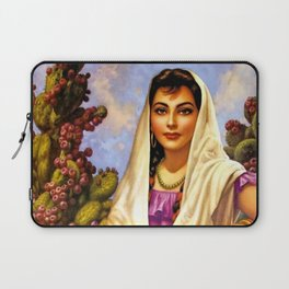Jesus Helguera Painting of a Calendar Girl with Cream Shawl Laptop Sleeve