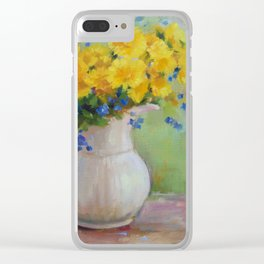 Dandelions and Forget me Not's in Vase Clear iPhone Case
