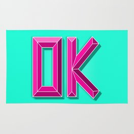 """OK"" 3D Letters (Mint Green, Deep Pink) Rug"