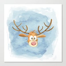 Reindeer Watercolor Christmas Canvas Print