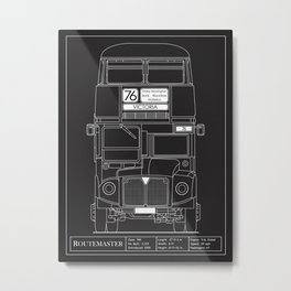 The Routemaster London Bus Blueprint Metal Print