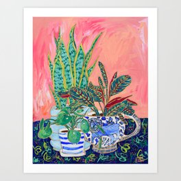 Pink Indoor Plant Still Life with Lion x The Sill Art Print