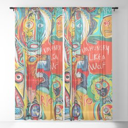 I'm hungry like a wolf Street Art Graffiti Sheer Curtain