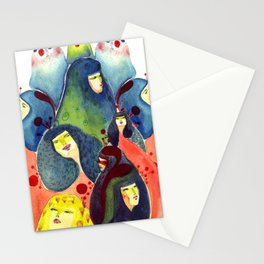 Moss and birds Stationery Cards