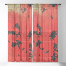 Red Modern Contemporary Abstract Textured Design Sheer Curtain