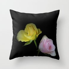 flowers on black - yellow and pink rosebud for curtains and homeproducts Throw Pillow