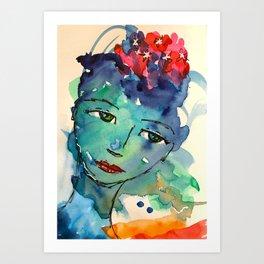 Green watercolor girl Art Print