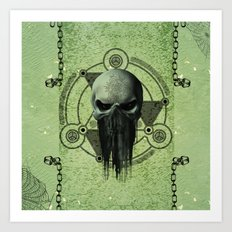 Awesome green skull  Art Print