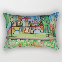 Landscape Painting Fairy town Acrylic S16 Contemporary Nursery Cityscape art for baby children kids Rectangular Pillow