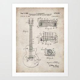 Gibson Guitar Patent - Les Paul Guitar Art - Antique Art Print