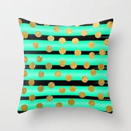 NL 9 9 Turquoise Gold & Black Throw Pillow